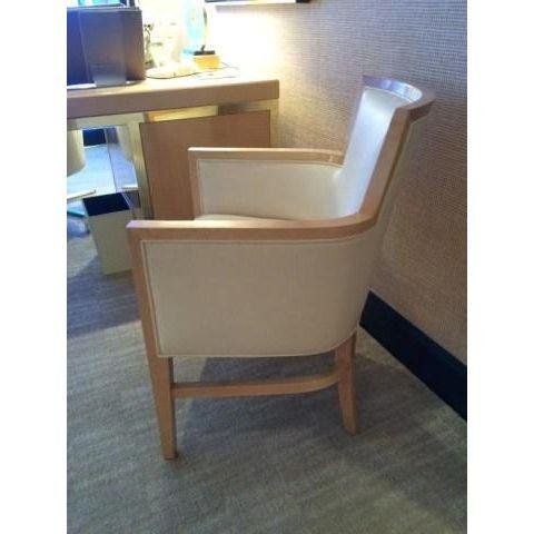 Helen Art Deco Cream Vinyl Armchairs - Pair - Image 3 of 5