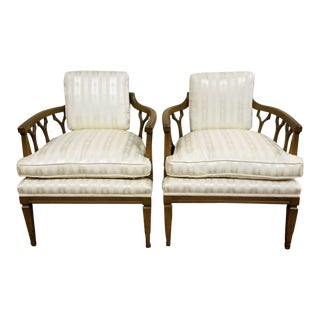 Hollywood Regency Sculptural Moroccan Lattice Barrel Back Chairs - A Pair