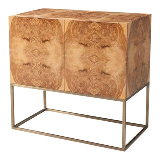 Mid Century Modern Burl Cabinet For Sale