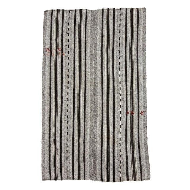Textile 1960s Vintage Gray & Black Striped Kilim Rug- 5′9″ × 9′4″ For Sale - Image 7 of 7