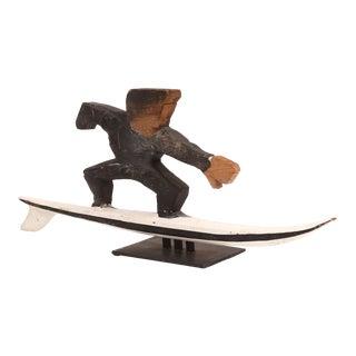 1950s Folk Art Wood Surfer Sculpture For Sale