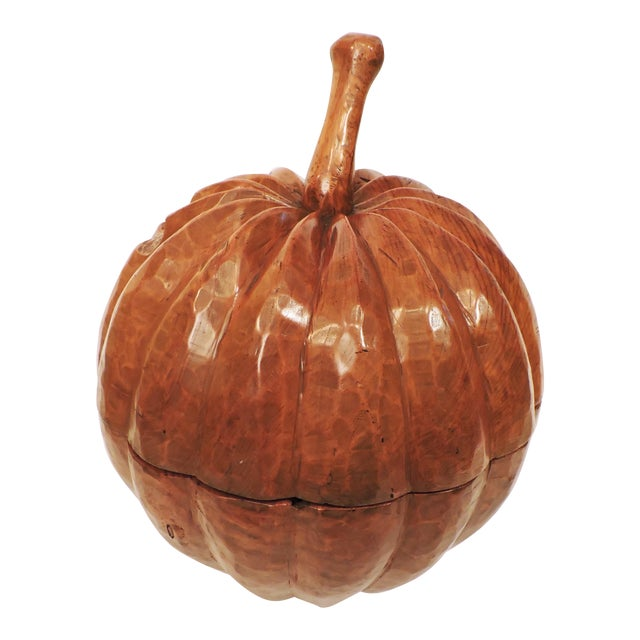 Indonesian Carved Teakwood Pumpkin with Lid For Sale