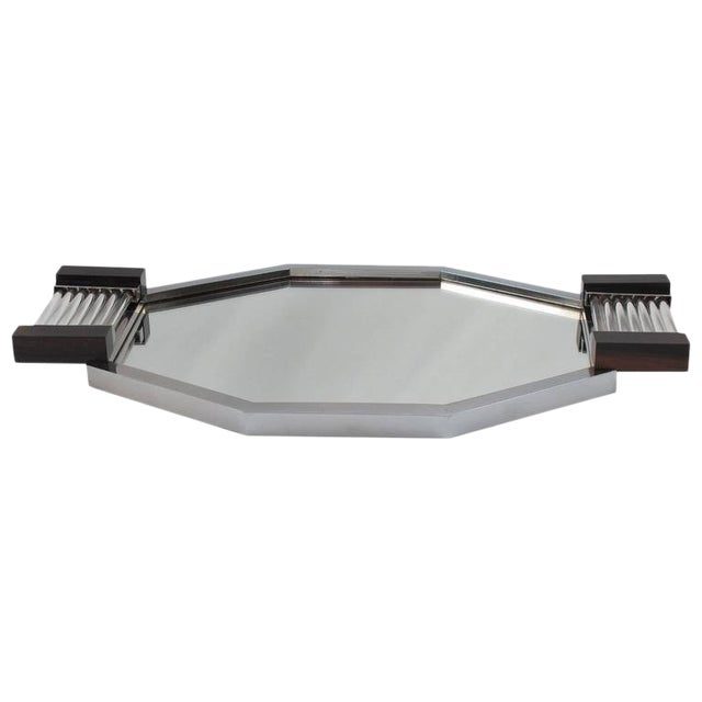 French Art Deco Serving Tray in Chrome, Glass, Macassar Wood and Mirrored Glass For Sale