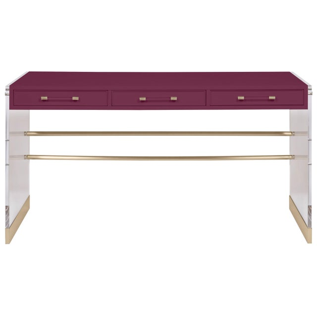 Transitional Casa Cosima Arden Desk with Taper Leg Base, Grape Juice For Sale - Image 3 of 3