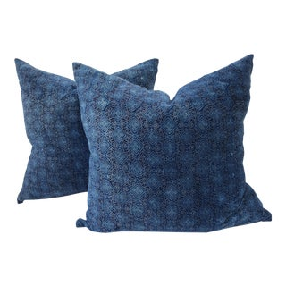 Cotton Velvet Block Print Pillows - A Pair For Sale
