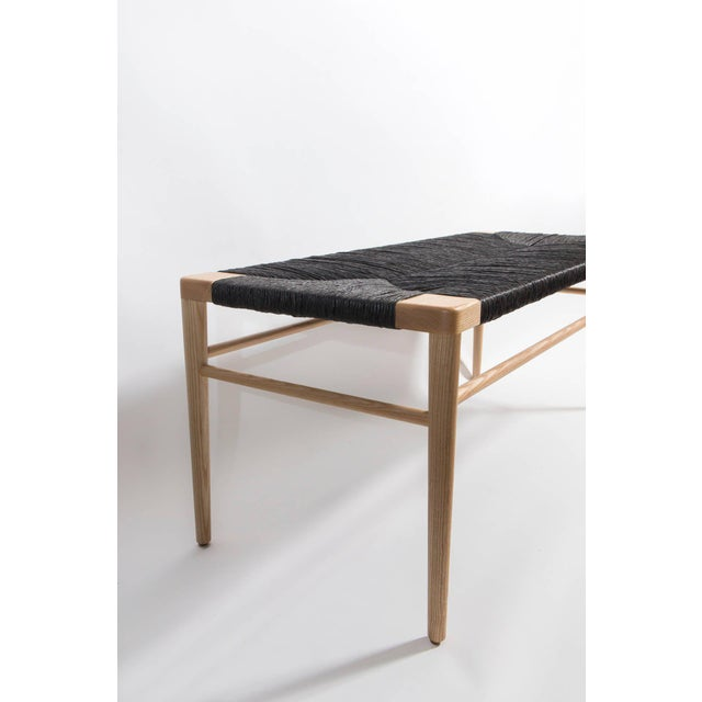 Marvelous Solid Ash Frame Bench With Hand Woven Black Rush Seat Inzonedesignstudio Interior Chair Design Inzonedesignstudiocom