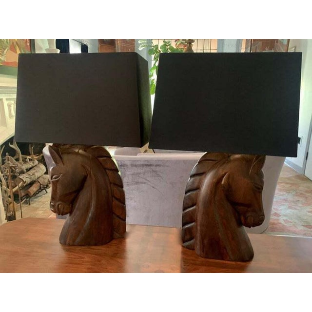 Wood Mid 20th Century William Billy Haines Horse Head Lamps - a Pair For Sale - Image 7 of 13