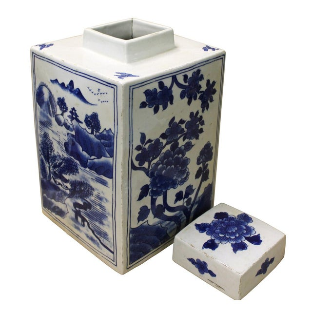 Chinese Blue & White Porcelain Flowers Jar For Sale - Image 4 of 6