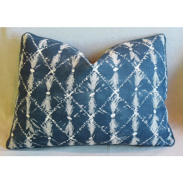 "Early 21st Century Designer Chris Barrett Blue & White Feather/Down Pillows 23"" X 17"" - Pair For Sale - Image 5 of 13"
