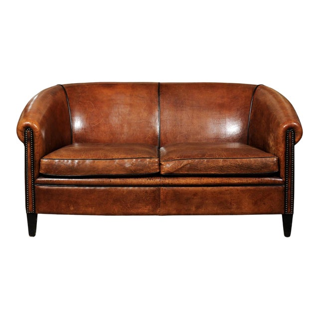 French Turn of the Century Brown Leather Sofa with Nailhead Trim, circa 1900 For Sale