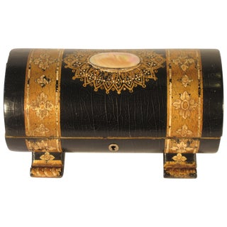 19th Century Painted Dome Top Box With Mother of Pearl For Sale