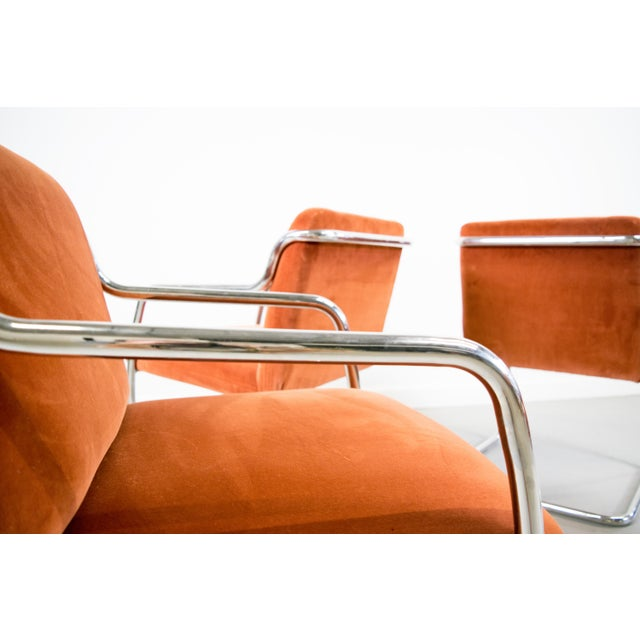 Brueton Chrome and Velvet Dining or Conference Chairs - Image 10 of 11