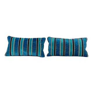 Custom Made Contemporary Blue Stripe Cut Velvet Designers Guild Fabric Decorative Pillows - A Pair For Sale