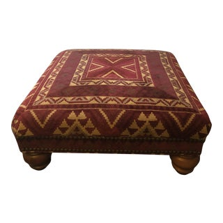 Sherrill Furniture Red Chenille Ottoman/Coffee Table For Sale