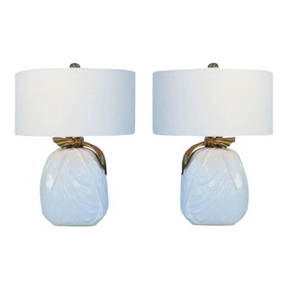 Ceramic and Brass Table Lamps by Chapman - A Pair For Sale
