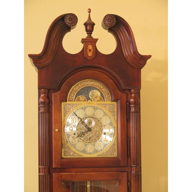 1990s Vintage Howard Miller Cherry Grandfather Clock