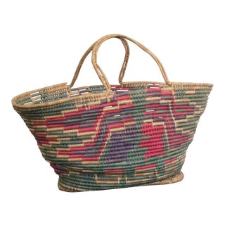 Vintage Handwoven Colorful Coil Basket