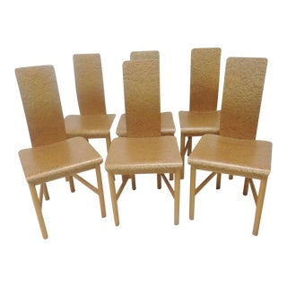 Italian Modern Design Burl Bentwood Chairs - Set of 6