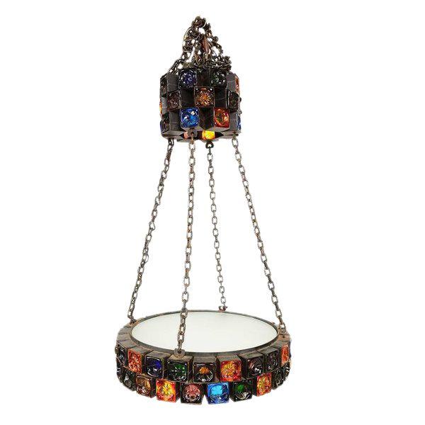 Handblown Glass Chandelier For Sale