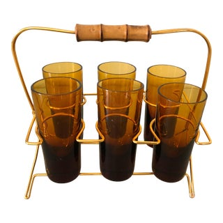 Mid-Century Handblown Spanish Amber Shot Glasses - Set of 7 For Sale