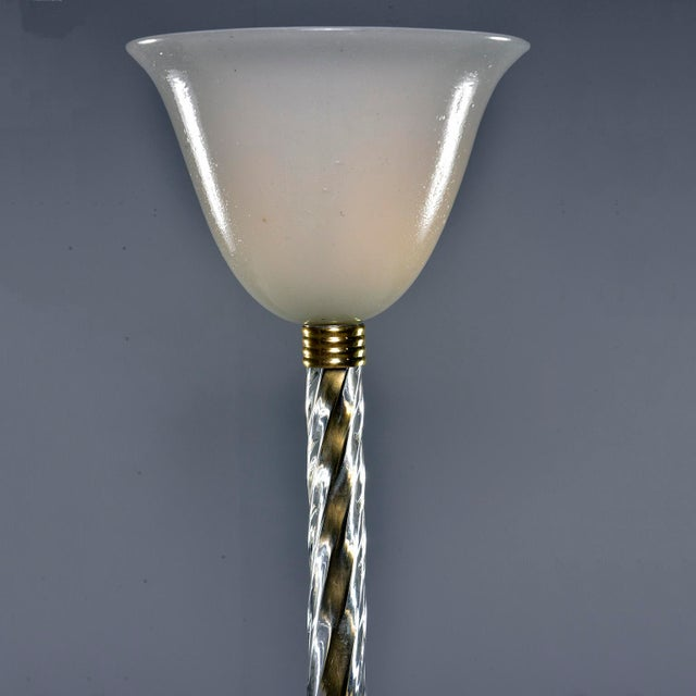 Art Deco Murano Glass and Brass Floor Lamp For Sale - Image 3 of 11