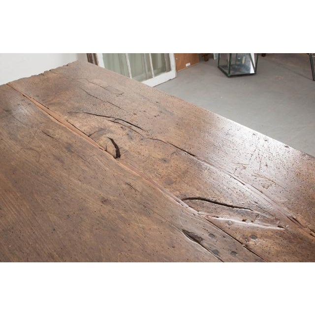 Wood French 19th Century Oak Farmhouse Trestle Table For Sale - Image 7 of 11
