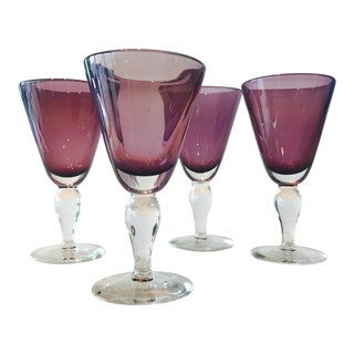 Set of Four Vintage Handblown Amethyst Murano Stemware Glasses For Sale