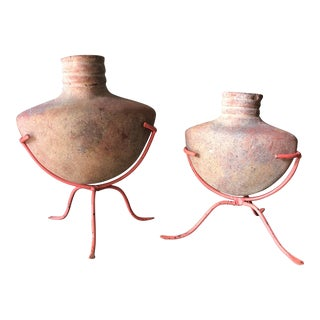Vintage Mid-Century Pottery Sculptures - a Pair For Sale