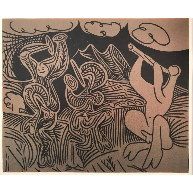 """Vintage Linocut after Pablo Picasso's, """"Danseurs Et Musicien"""" (1959) printed in 1962. From the book """"Pablo Picasso..."""