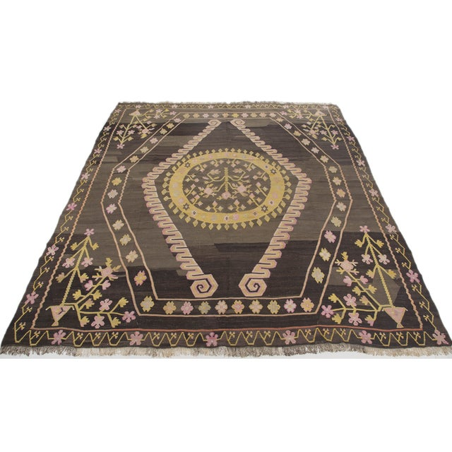 Turkish Primitive Large Kilim Rug - 9′7″ × 10′5″ - Image 1 of 10