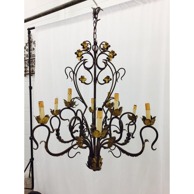 antique hand forged wrought iron tole chandelier chairish