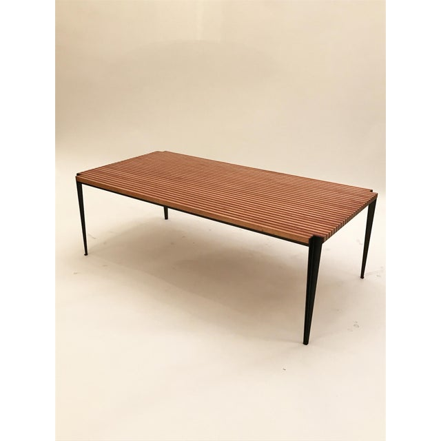 Metal Osvaldo Borsani Pair of Large Cocktail Tables in Two Toned Wood and Steel For Sale - Image 7 of 7