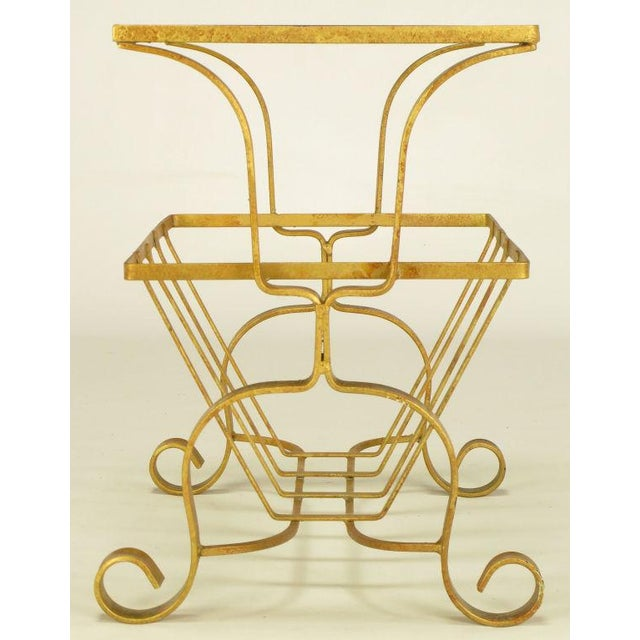 Gilt Iron & Glass Side Table With Magazine Caddy. - Image 2 of 6