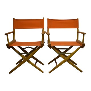 Hermes Orange Canvas Director's Chairs - a Pair