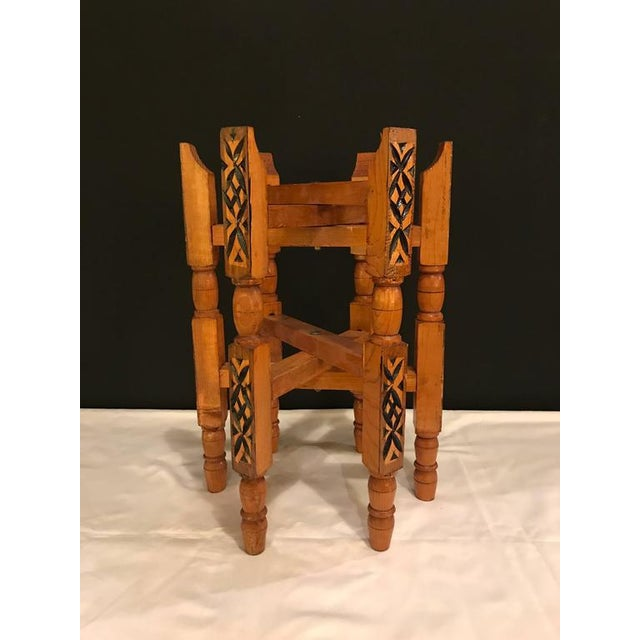 Boho Chic Hand-Carved Wood Tray Legs For Sale - Image 3 of 11