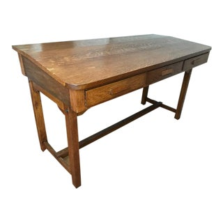 Antique Oak Railroad Station Desk For Sale