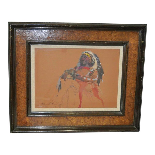 "Donald ""Putt"" Putman Indian Chief Original Painting For Sale In San Francisco - Image 6 of 6"