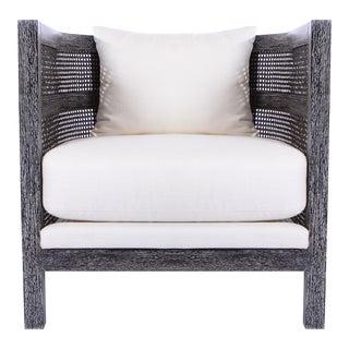 Costero Tub Chair - Black Cerused Oak, Optic White Linen For Sale