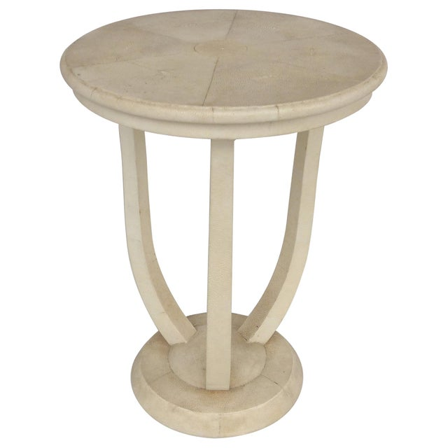 Maitland Smith Tri-Leg Shagreen Side Table For Sale - Image 10 of 10