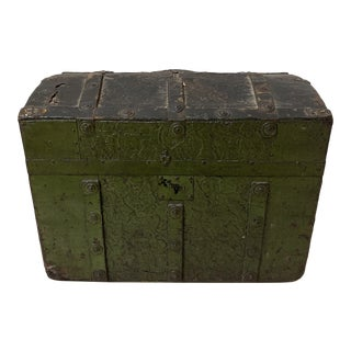 19th Century Small Green Trunk For Sale