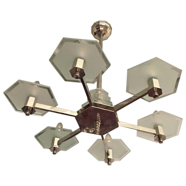 French Art Deco Six-Arm Modernist Chandelier For Sale