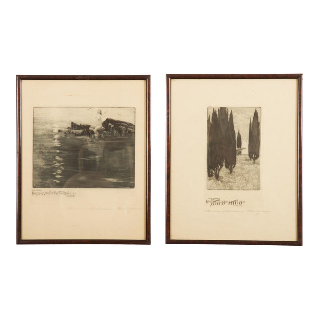 Marianne Hitschmann-Steinberger Etching From 1900 Set of Two For Sale