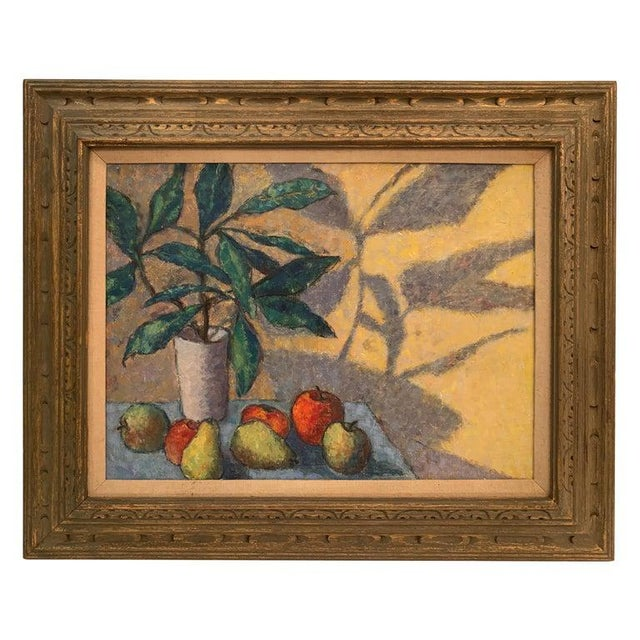 Mid-Century Modernist Still Life Oil on Canvas Painting For Sale