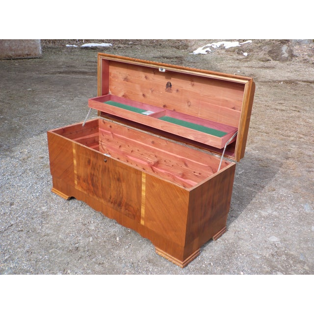 Antique LANE Art Deco Waterfall Cedar Hope Chest Storage Trunk For Sale In Providence - Image 6 of 13