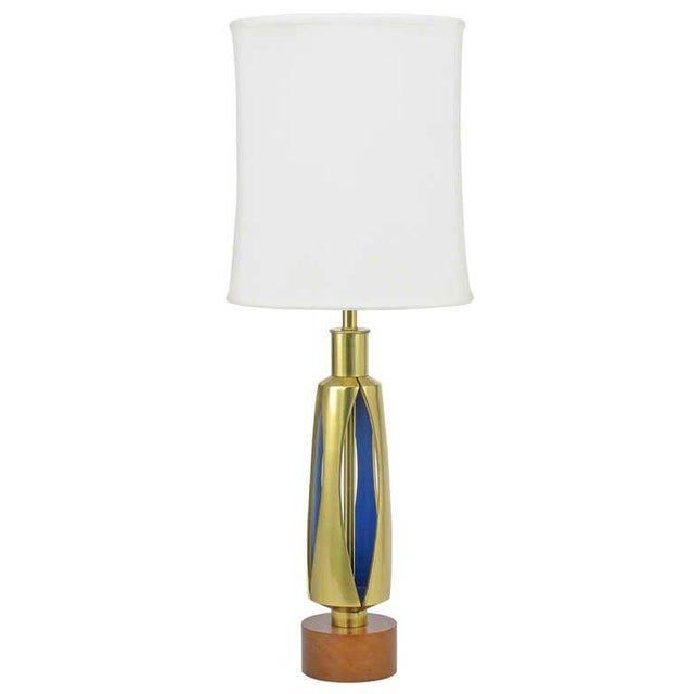 Gold Rembrandt Brass & Azure Blue Table Lamp For Sale - Image 8 of 8