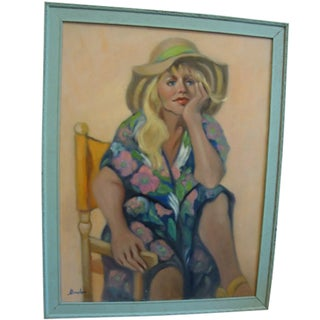 """""""Girl in a Straw Hat"""" Oil Painting"""