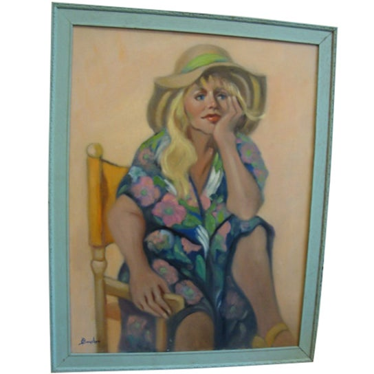"""Girl in a Straw Hat"" Oil Painting - Image 1 of 8"