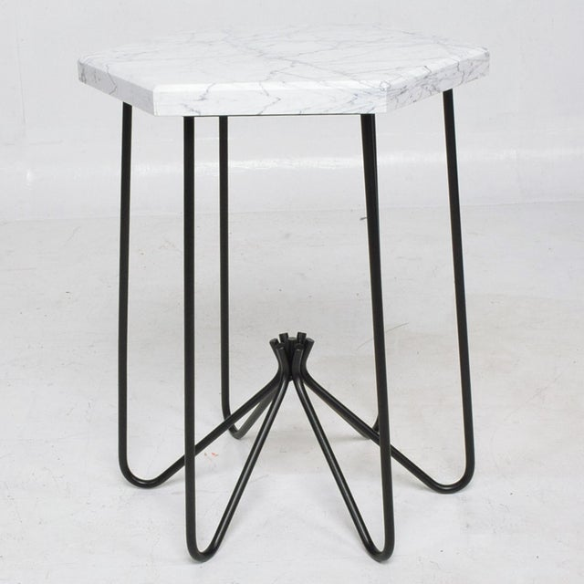 French Modern Sculptural Metal & Marble Hexagonal Side Table After Jean Royere For Sale - Image 9 of 9