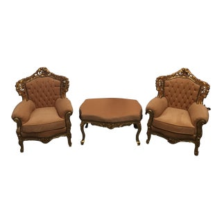 Traditional Tufted Chairs & Ottoman - Set of 3 For Sale