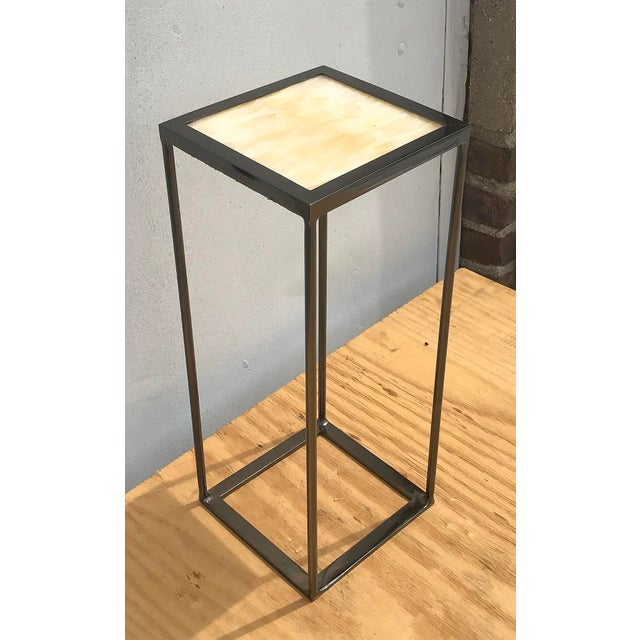 Onxy and Black Nickel Plated Side Table For Sale In New York - Image 6 of 6